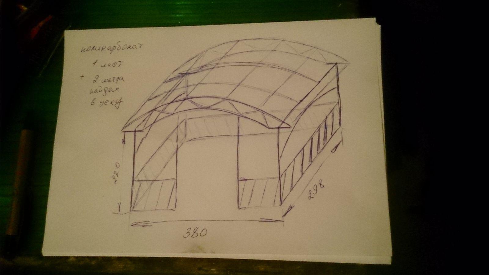 Как сделать навес из поликарбоната своими руками: чертежи 95