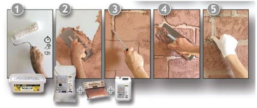 Как сделать из шпаклевки кирпичи на стене 213