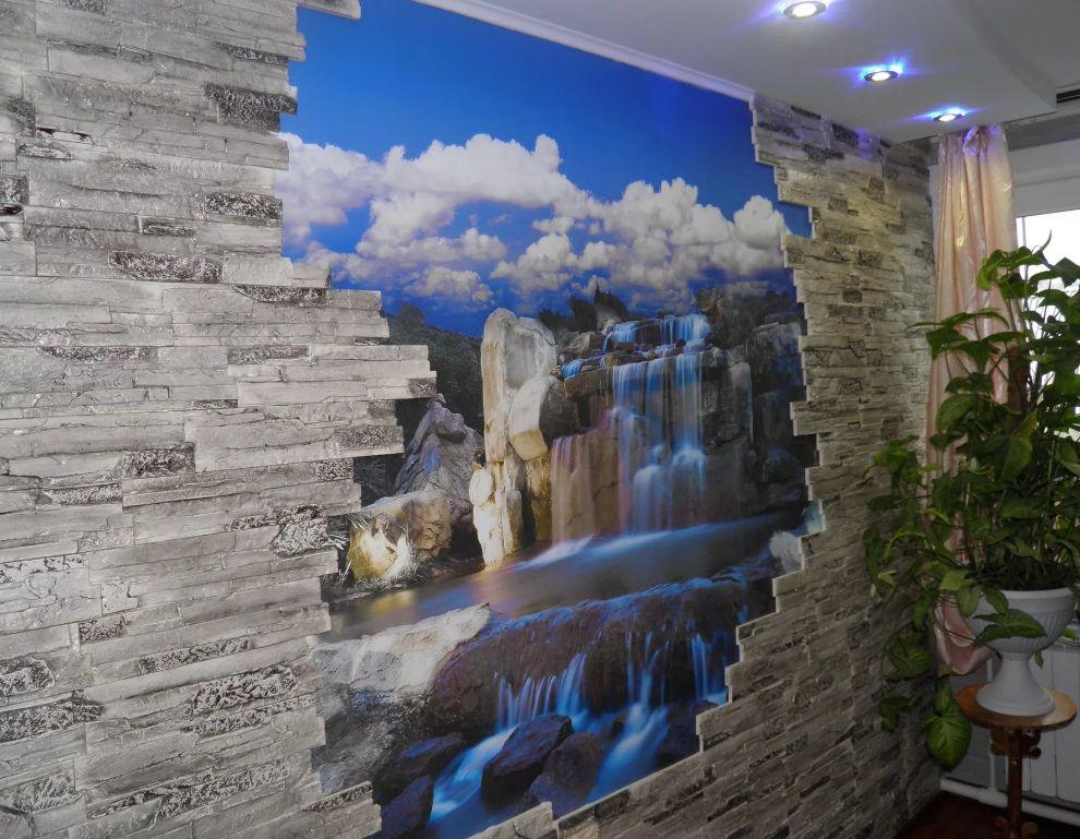 Декоративный камень и фотообои в интерьере кухни фото