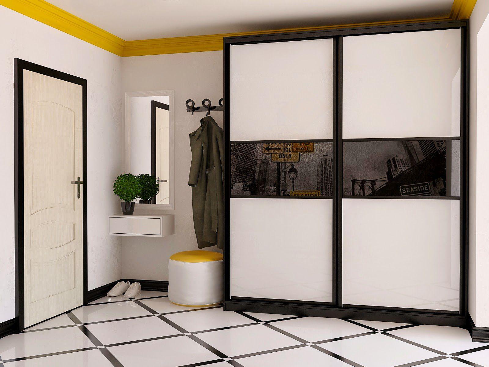 Шкафы купе дизайн в прихожею встроенные через дверь