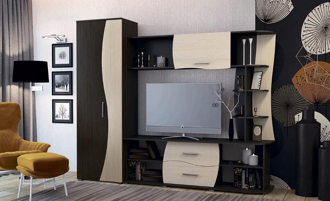 Стенки под телевизор со шкафами под одежду 153