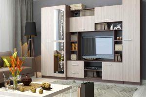 Стенка в гостиную в современном стиле со шкафом для одежды – фото и цены, угловые, горки и мини комплектации