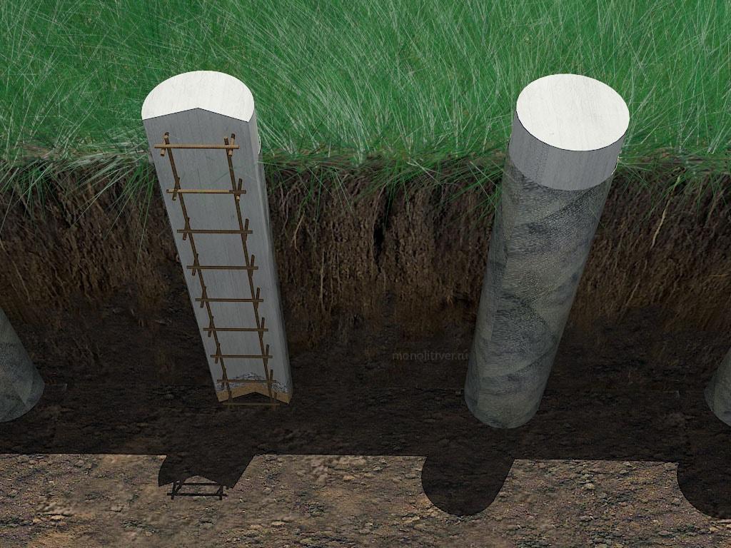 Бетонные столбы для фундамента своими руками