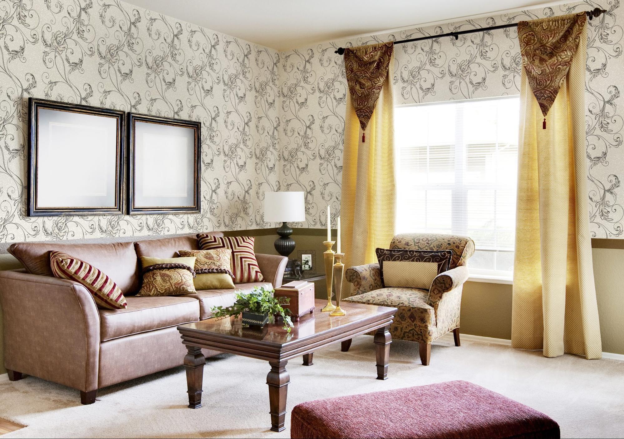 Сочетание обоев и штор в гостиной фото